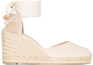 Castaner Carina 80mm ankle-tie wedge sandals