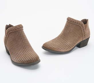 Earth Perforated Suede Booties - Peak Perry