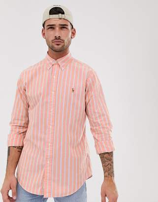 Polo Ralph Lauren stripe oxford shirt custom regular fit button down player logo in orange