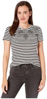 Lucky Brand Stripe Embroidered Tee (Black Multi) Women's Clothing
