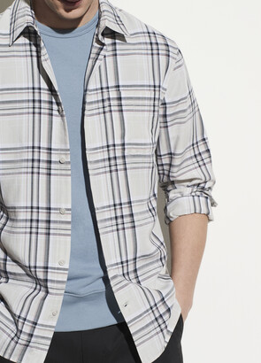 Vince Windowpane Plaid Long Sleeve