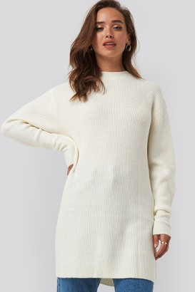 NA-KD Round Neck Knitted Long Sweater White
