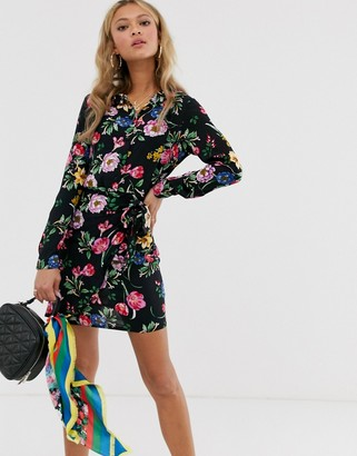 Parisian frill wrap dress in bright floral print-Black