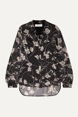 Diane von Furstenberg Lorelei Printed Silk-chiffon Blouse - Black