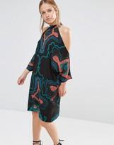 Liquorish Printed Cold Shoulder Knee Length Dress