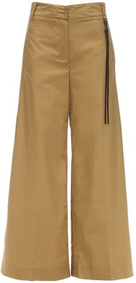 High Waist Cotton Poplin Pants