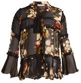 Preen Line Roya ruffle-trimmed peony-print semi-sheer blouse
