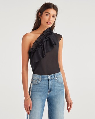 7 For All Mankind One Shoulder Ruffle Top in Jet Black