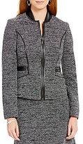 Kasper Round Neck Zip-Front Tweed Jacket