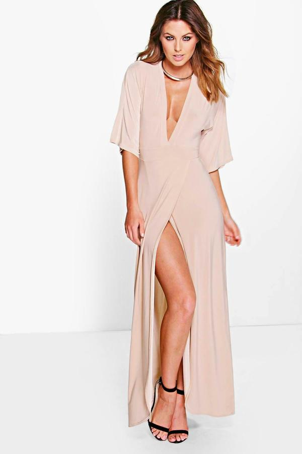 boohoo Kerry Kimono Open Back Tie Detail Maxi Dress stone