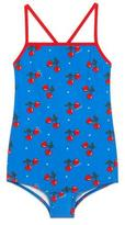 Gucci Cross-Back Heart Cherries One-Piece Swimsuit, Blue, Size 4-12
