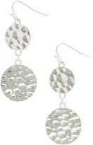 Carole Silvertone Hammered Double-Circle Drop Earrings