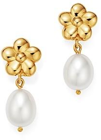 Bloomingdale's Cultured Freshwater Pearl & Flower Drop Earrings in 14K Yellow Gold - 100% Exclusive