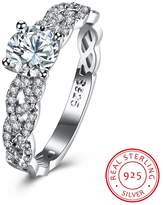 BALANSOHO 925 Sterling Silver Cubic Zirconia Engagement Rings Eternity Cross Wedding Band for Women Size 8