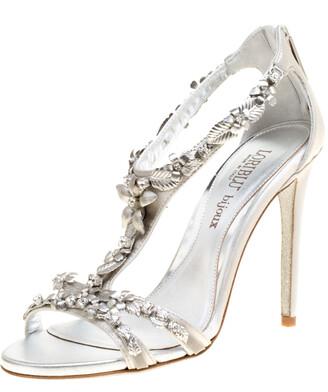 Loriblu Bijoux Grey Satin Floral Embellished Crystal Studded Sandals Size 37.5