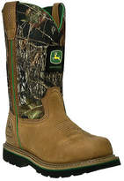 "John Deere Men's Boots 11"" Safety Toe Work Wellington 4348 - Tan/Camo Boots"