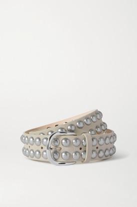 Isabel Marant Zaf Studded Nubuck Belt - White