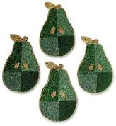Hand Beaded Coasters from India (Set of 4), 'Mint Pear'
