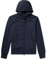 Engineered Garments Metallic-trimmed Fleeceback Cotton-jersey Zip-up Hoodie - Storm blue