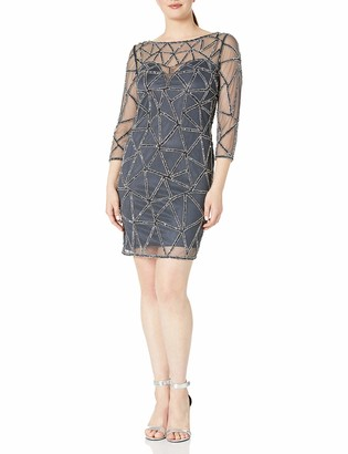 J Kara Women's 3/4 Sleeve Short Cocktail Sheer Illusion Front Beaded Dress