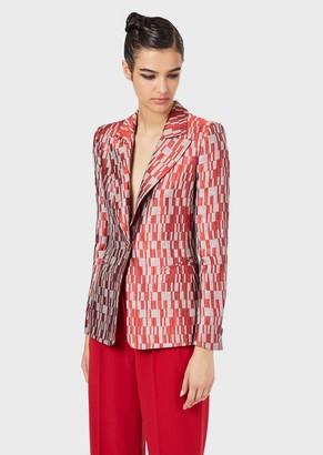 Giorgio Armani Single-Breasted Jacket In Geometric Jacquard