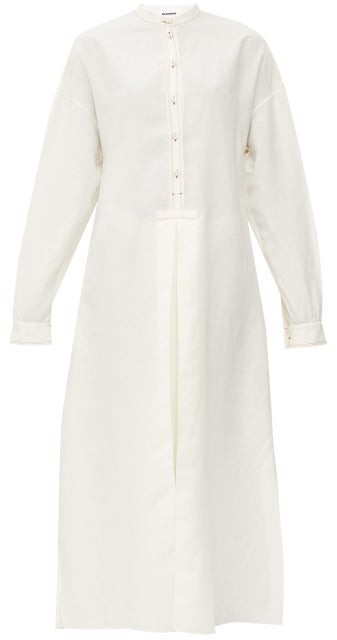 Jil Sander Band-collar Crepe Maxi Dress - Ivory