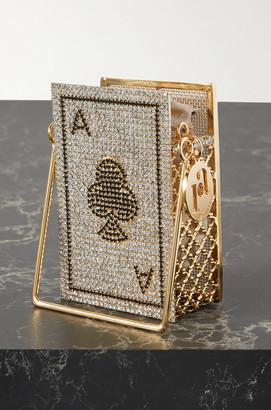 Rosantica Ace Of Clubs Embellished Gold-tone Shoulder Bag - Silver