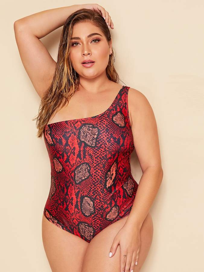 1ce52de671c9 One Shoulder Plus Size Swimsuit - ShopStyle