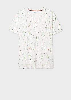Paul Smith Women's White V-Neck 'Achille Pinto' Print Cotton T-Shirt
