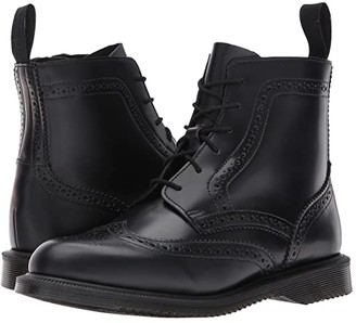 Dr. Martens Delphine 6-Eye Brogue Boot (Black Polished Smooth) Women's Boots