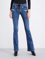 Unravel Lace-up flared mid-rise jeans