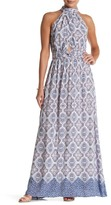 En Creme Print Halter Maxi Dress