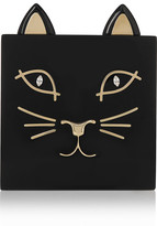 Charlotte Olympia Kitty Embellished Perspex Clutch - Black