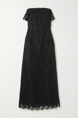 Brock Collection Strapless Cotton-blend Guipure Lace Midi Dress - Black