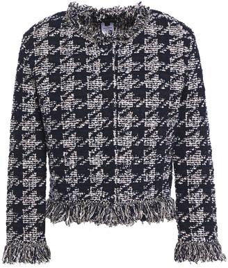 Oscar de la Renta Frayed Sequin-embellished Jacquard-knit Cardigan