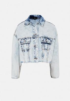 Missguided Light Blue Pleat Back Vintage Denim Jacket