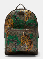 Gucci Men's Bengal Tiger Print Gg Supreme Backpack In Brown