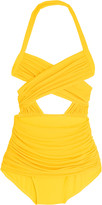 Norma Kamali XO Bill Mio cutout ruched halterneck swimsuit