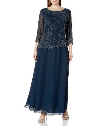 J Kara Women's Plus Size Sheer Sleeve Floral Beaded Long Dress