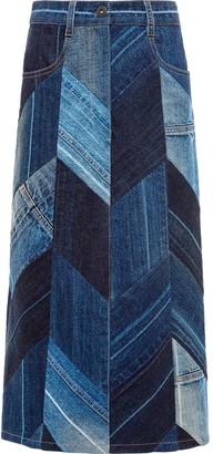 Prada Herringbone Patchwork Denim Skirt