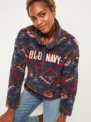 Old Navy Relaxed Cozy Sherpa Logo Half-Zip Sweatshirt for Women