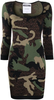 Moschino Camouflage-Pattern Knitted Dress