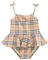 Burberry Luella Check Skirted One-Piece Swimsuit