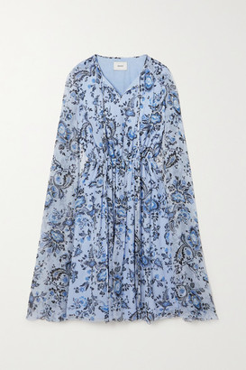 Erdem Austin Cape-effect Floral-print Silk-voile Mini Dress - Light blue
