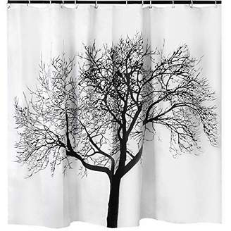 Tree Shower Curtain Mildew Resistant - 72x72 Tree Design Decor Waterproof Odorless Eco Friendly Anti Bacterial Bath Curtains Liner Decorative Fabric for Bathroom Heavy Duty Rustproof Metal Grommets