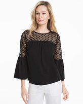 White House Black Market 3/4 Bell Sleeve Blouse with Lace