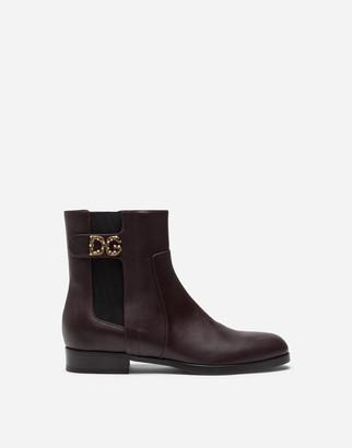 Dolce & Gabbana Calfskin Nappa Chelsea Boots With Logo