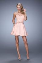 La Femme 21881 Embroidered Lace Satin A-line Dress