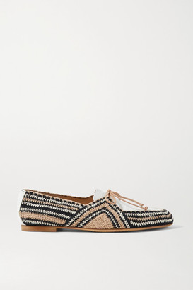 Gabriela Hearst Hays Crocheted Cotton And Croc-effect Leather Loafers - Beige