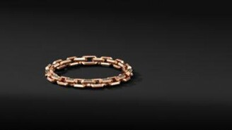 David Yurman Heirloom Chain Link Bracelet In 18K Rose Gold With Pave